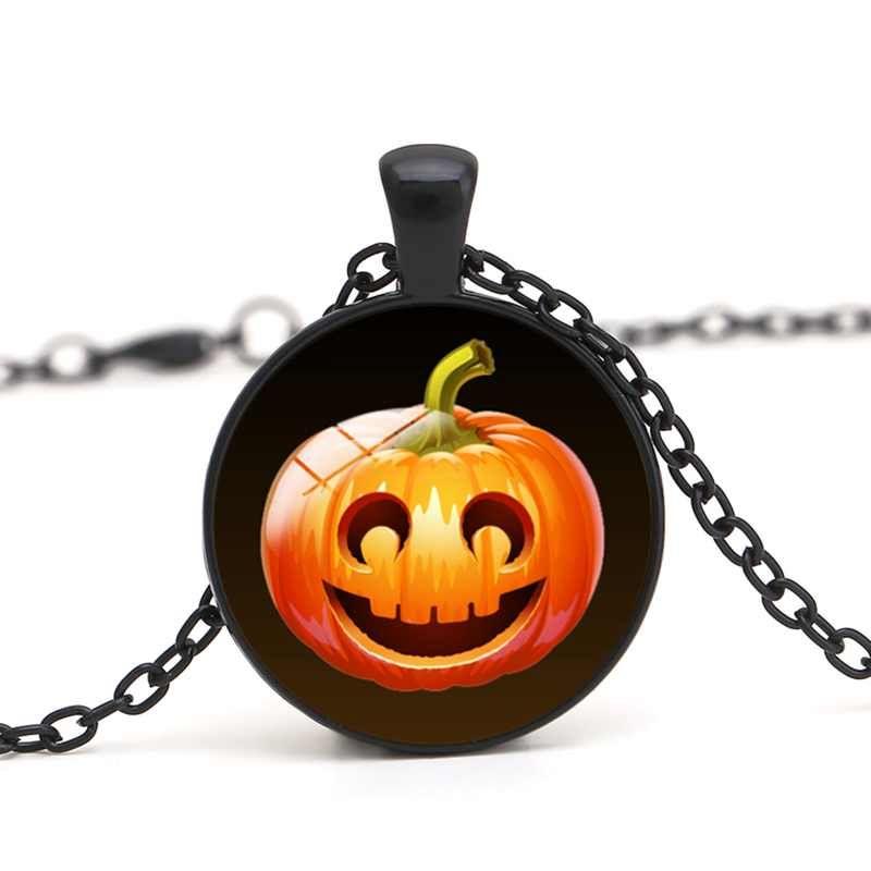 Jack O Lantern colgante collar cabujón de cristal linterna de calabaza cara sorprendida de Halloween DIY joyería hecha a mano mujeres encanto regalos al por mayor