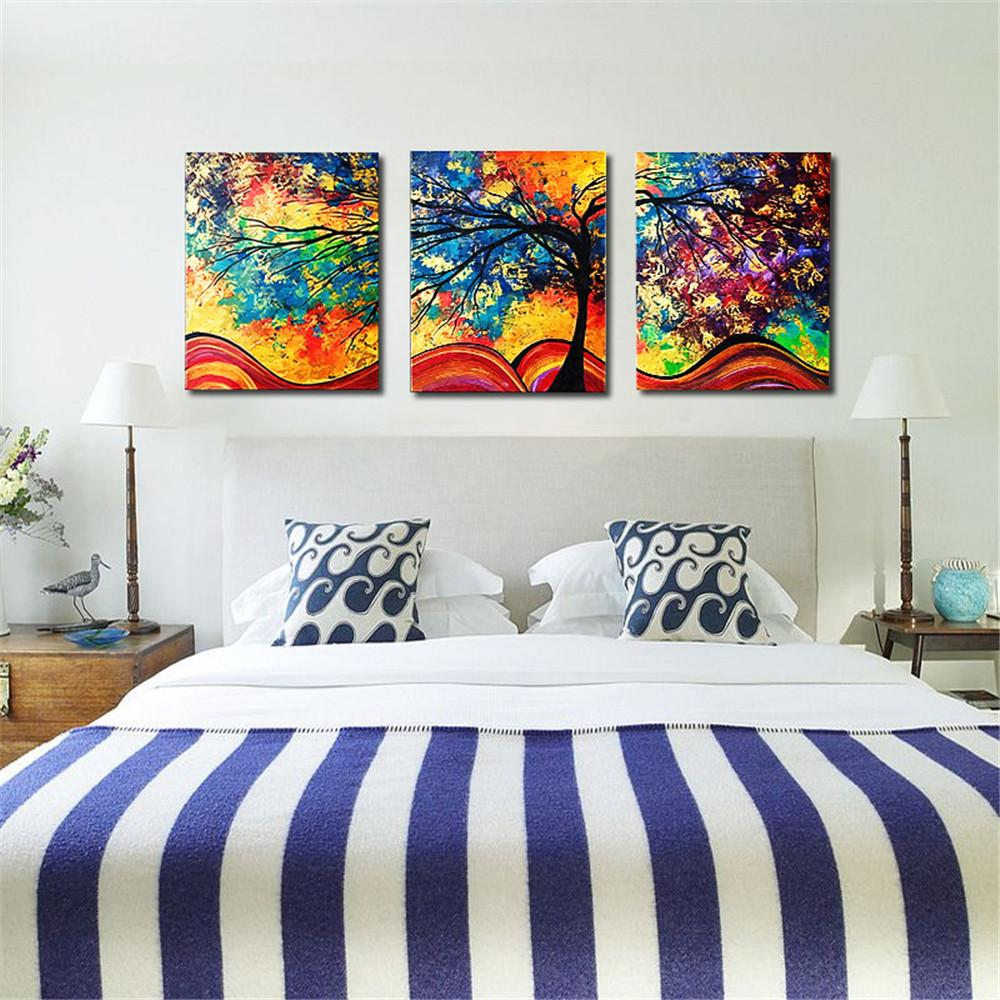Discount Large Wall Art Home Decor Abstract Tree Painting Colorful  Landscape Paintings Canvas Picture For Living Room Decoration No Frame From  China ...