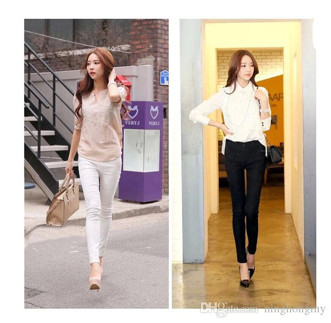Bahar Sonbahar Seksi Kore Kalem Pantolon Dantel Tayt Sıcak Örme Siyah Beyaz Legging Tayt Elastik külotlu Ayaklar Tozluk toptan S-XXXL