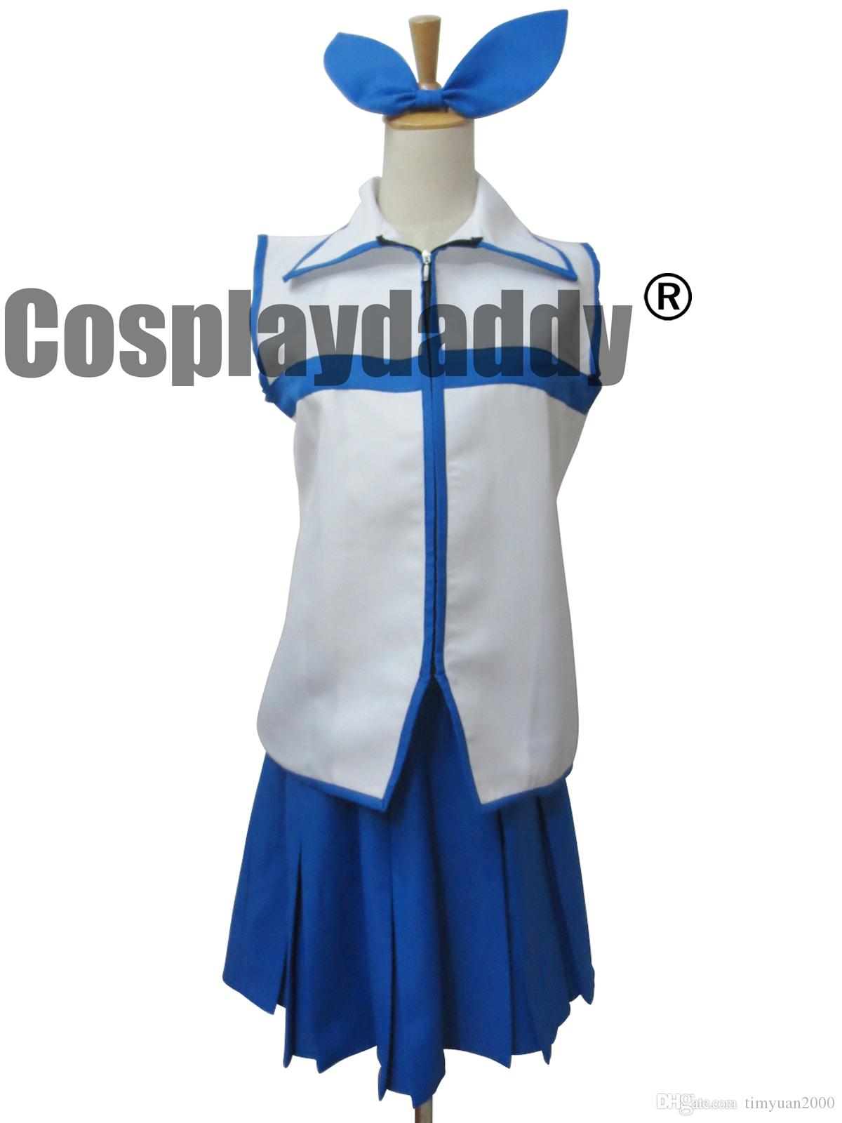 Fairy Tail Lucy Halloween Blue Dresses Set Cosplay Costume