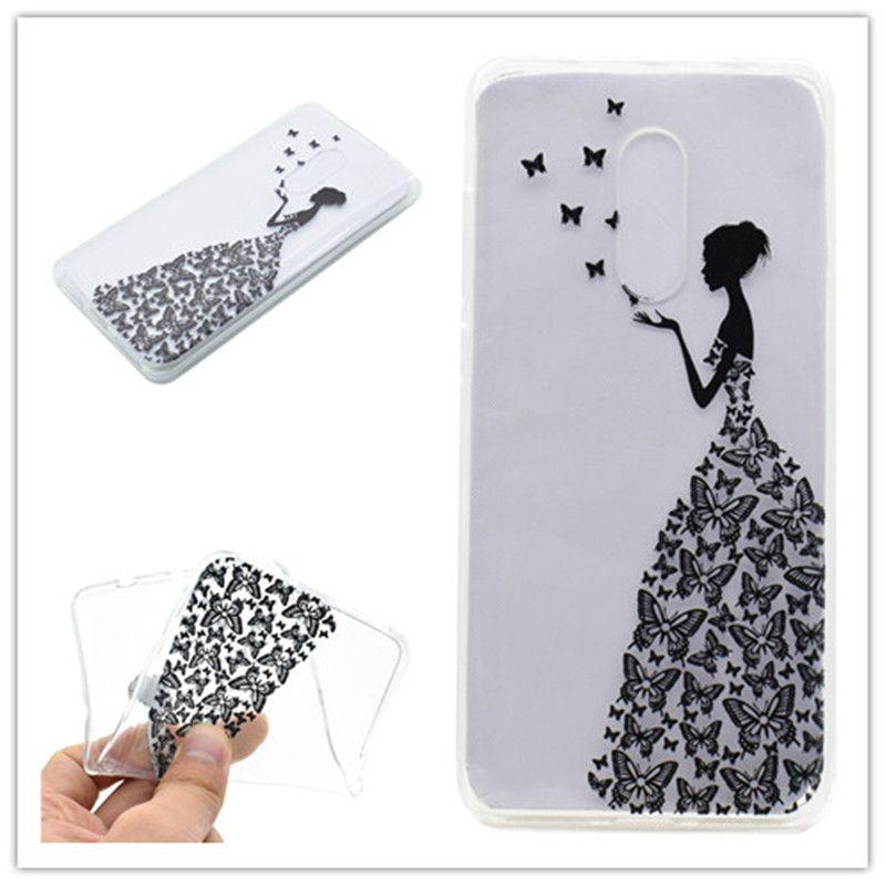 Cubierta de TPU transparente para Lenovo K6 Note Case moda de color decoración Torre bicicleta Butterfly Girl Feather diseño caja del teléfono