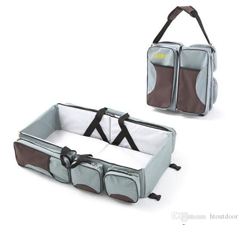 Multifunction Portable Mummy Handbag Outdoor Travel Crip Diaper Nappy Changing Bag Pack Movement Baby Nursing Folding Baby Bed