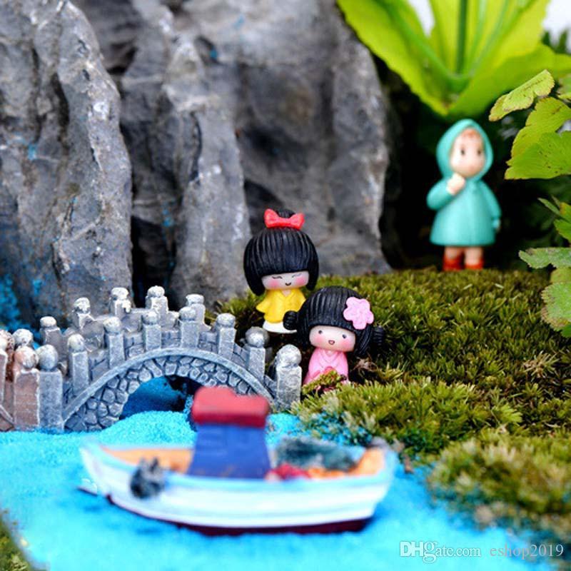 New Japan cartoon kimono girl 2designs fairy garden miniatures mini gnomes moss terrariums resin crafts figurines for garden decoration