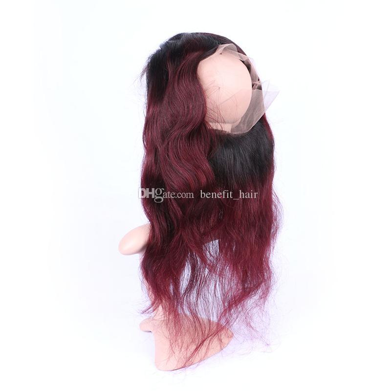Ombre # 1B 99J Pre arrancó 360 Frontal de encaje con paquetes de pelo / Extensión de pelo virgen brasileña con 360 Frontal de banda de encaje Cierre