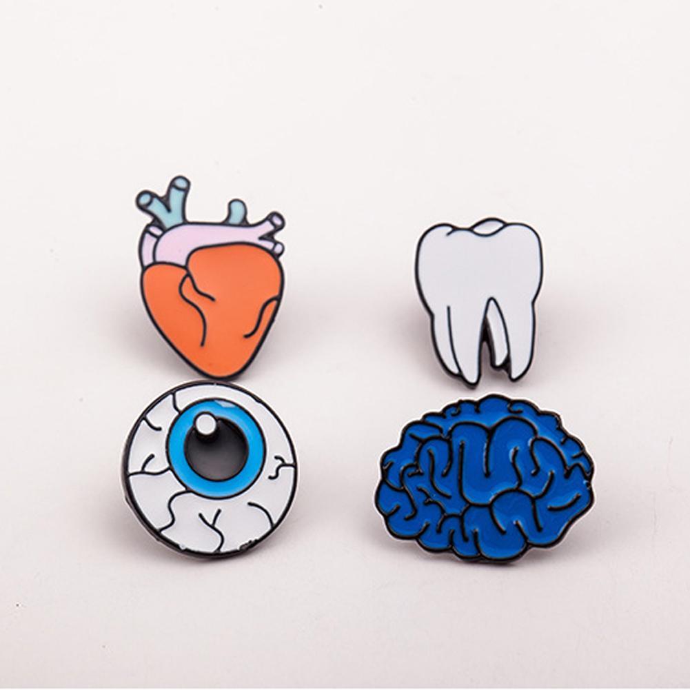 95091a8d01e20 Compre Liga De Zinco Esmalte Dentes Olho Cérebro Coração Broches Pinos  Órgãos Do Corpo Humano Para As Mulheres Jóias Agulha Broche De Lapela Pin  Colarinho ...