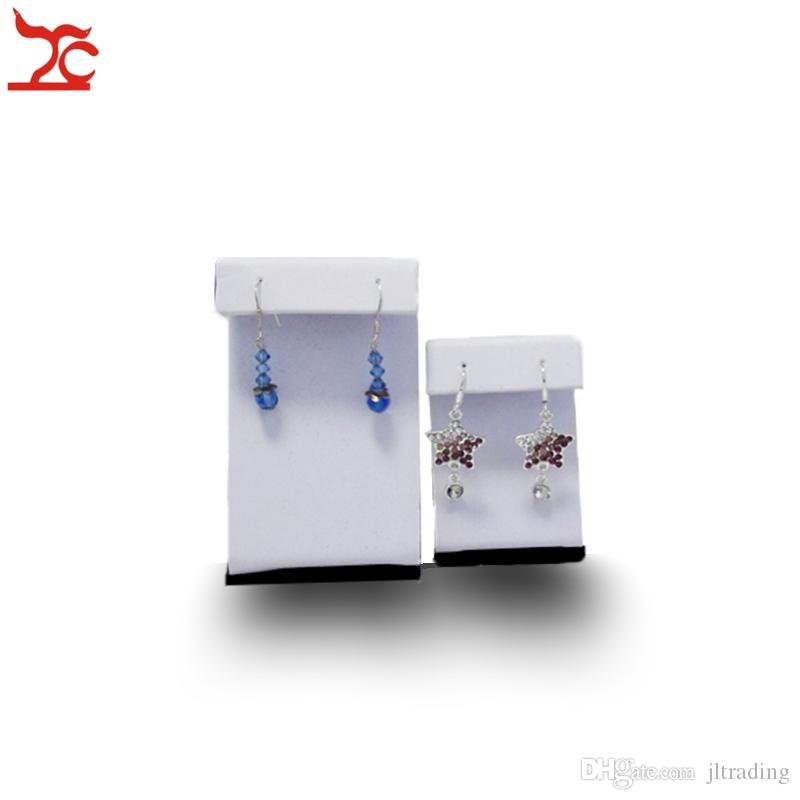 Wholesale Jewelry Display Kit of 10 Large Z Shaped Stand Earrings Easels Earring Holder In White PU Leather With Black Velvet