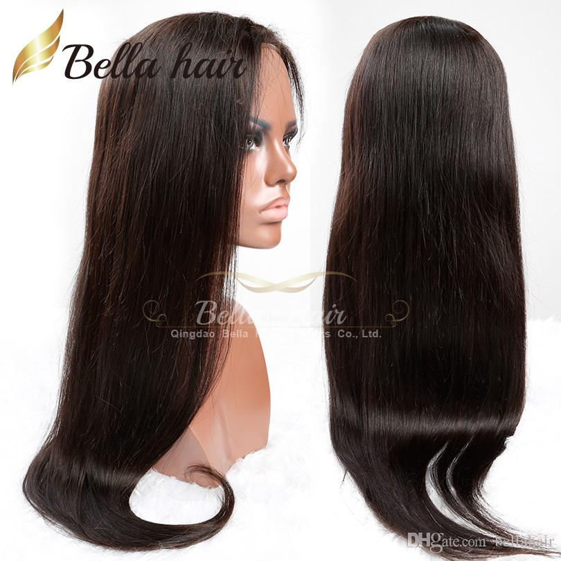 Lace Front Wigs Virgin Unprocessed Human Hair Lace Wigs Natural Color Middle Part Straight DHL Bellahair