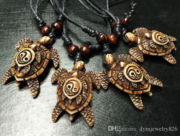 شحن مجاني حار 12 قطع بالجملة جديد خمر تاي تشي يين يانغ خشبية الخرز قلادة حبل سلسلة الأزياء والمجوهرات للرجال / نساء