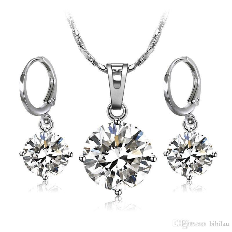 b90779a464f 2019 MGFam 206BS White Gold Plated Single Stone Jewelry Set Women Pendant  Necklace And Earring High Quality Not Allergic From Bibilau