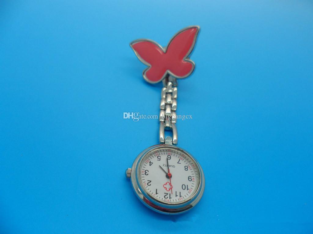 Moda Metal Enfermeira Relógio Borboleta Charme Mulheres Médica Militar Broche Relógio de Bolso Cruz Vermelha Analog Relógio De Quartzo