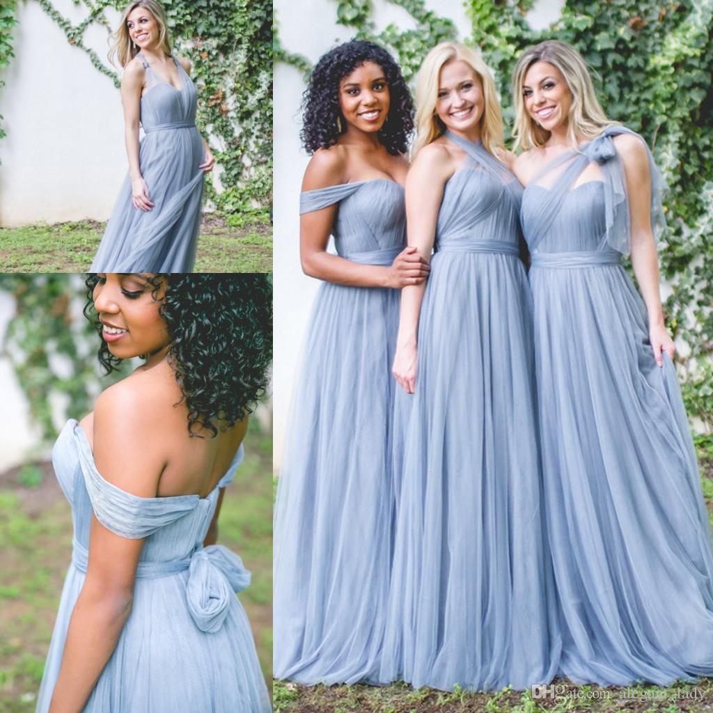 Dusty Blue Long Convertible Country Bridesmaid Dresses 2018 Plus ...