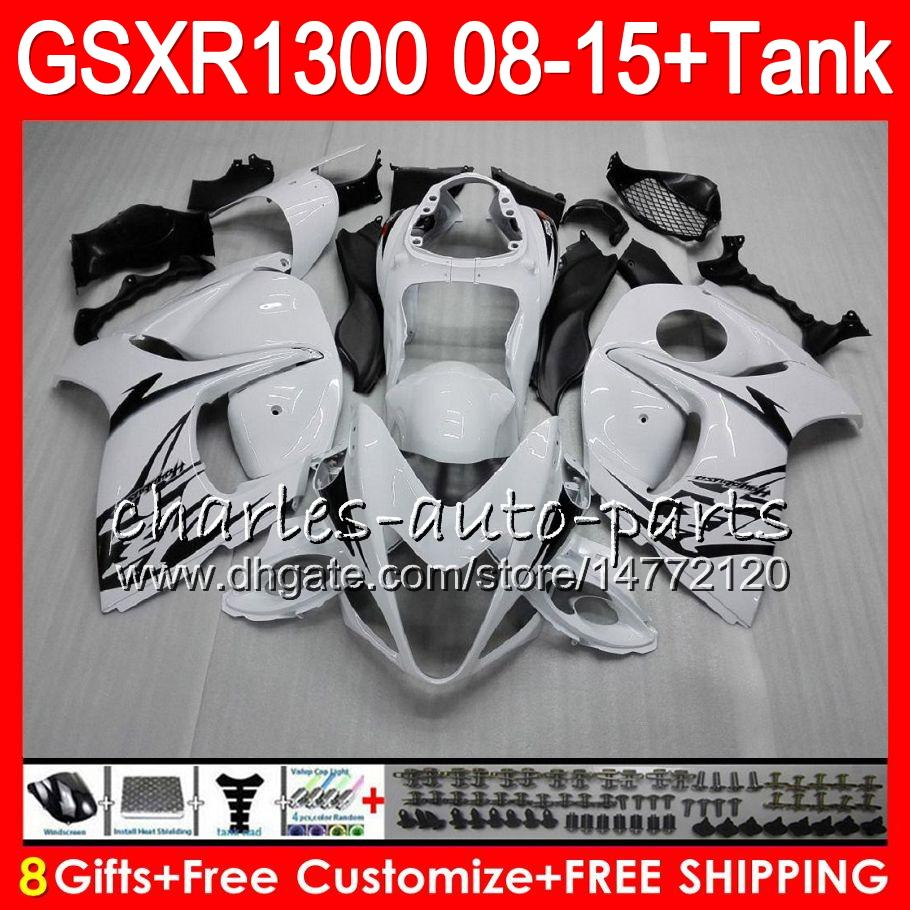 8Gifts 23Colors Para SUZUKI Hayabusa GSXR1300 08 09 10 11 12 13 14 15 Stock blanco 19HM7 GSX R1300 GSXR 1300 2008 2009 2010 2011 Kit de carenado