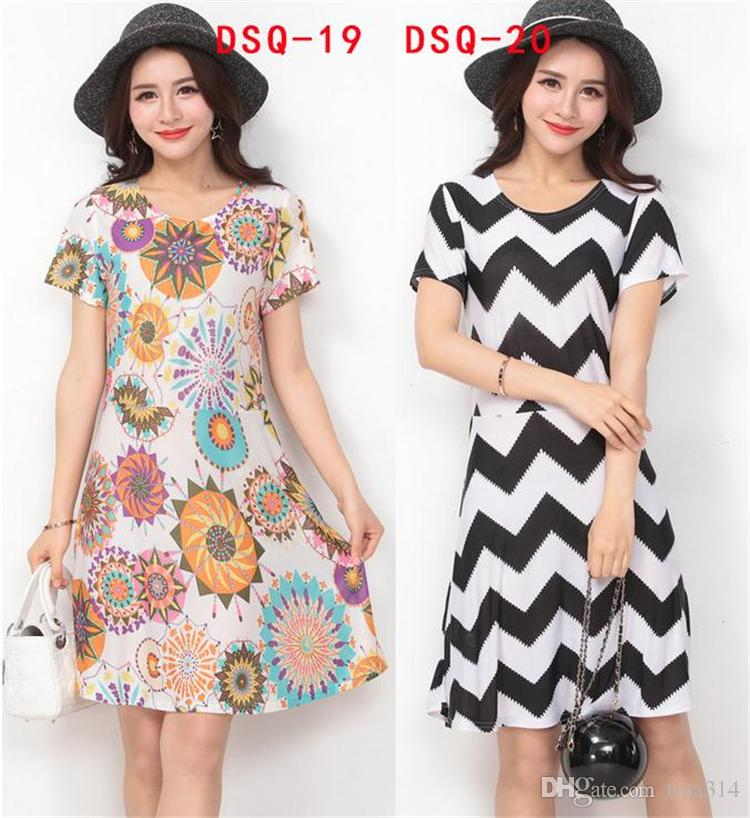 New fashion Women Casual Dress Plus Size Cheap China Dress 24 Designs Women Clothing Fashion half Sleeve summer Dress BA012