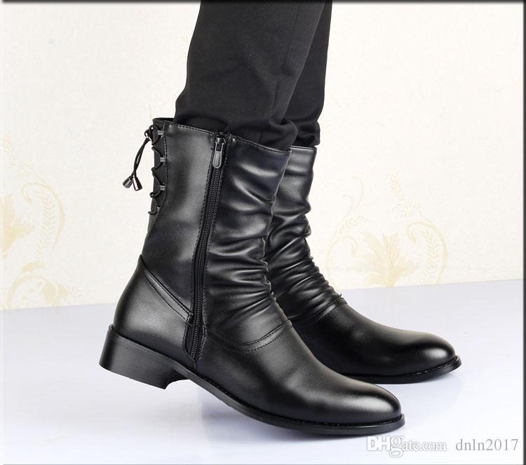 영국 스타일의 부츠 겨울 봄 최고 품질 우편 소프트 가죽 남자 블랙 부츠, 수제 눈 뾰족한 발가락 신발 남성 6 # 25 / 20D50