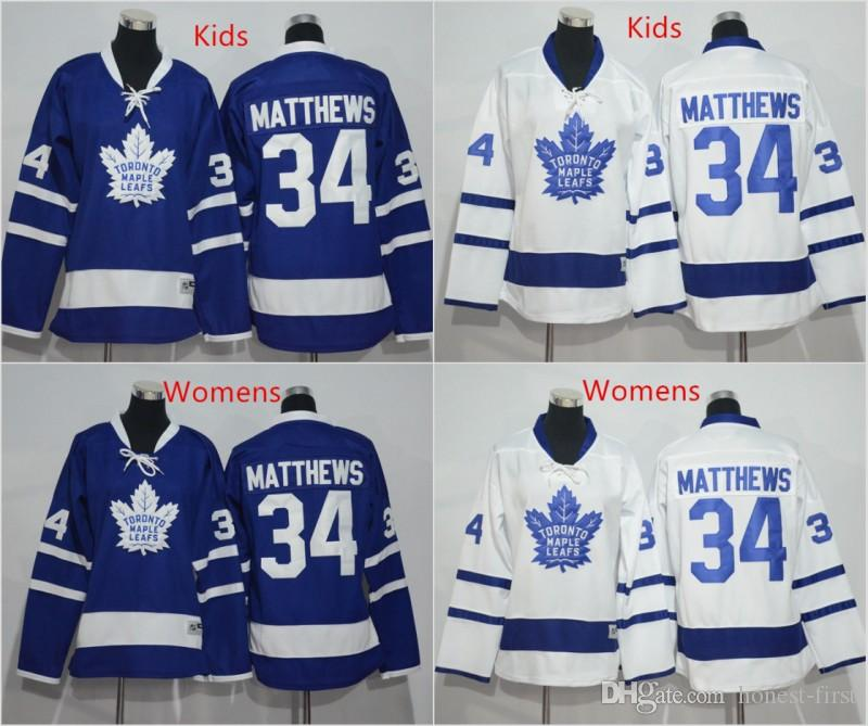 new style b9b39 45f8f 2016 Kids Toronto Maple Leafs Jersey Blue Youth 34 Auston Matthews Ice  Hockey Jerseys White Womens Matthews Jersey All Stitched Best Quality
