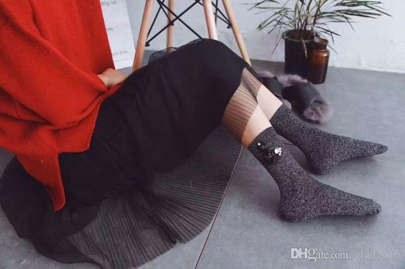 Glitter socks / Popular Fall Winter Sequin Socks Retro Handmade Swan Drill Korean Fashion Trend Silver Piles Heap Socks