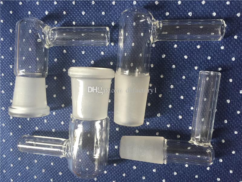 Solo Cam Aroma Tüp L Keskin 14 MM / 18 MM Kadın / erkek Cam sigara adaptörü Cam Dirsek Adaptörü için su bong