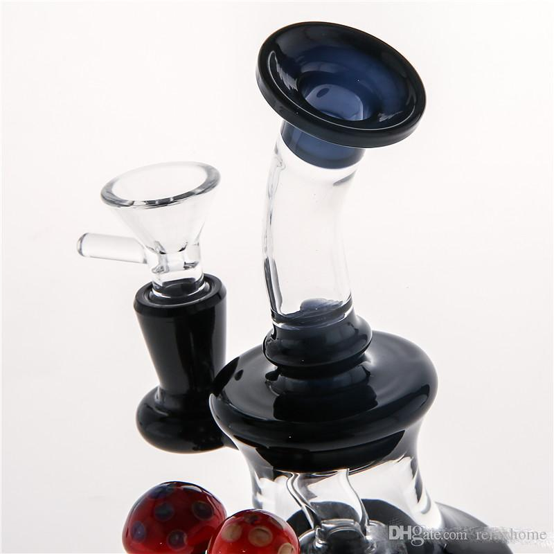 Directly Sell mini Straight Type Glass Red mushroom Decorated Black Glass Bongs Cheap Water Pipes Thick Base Smoking Pipes Free Shpping