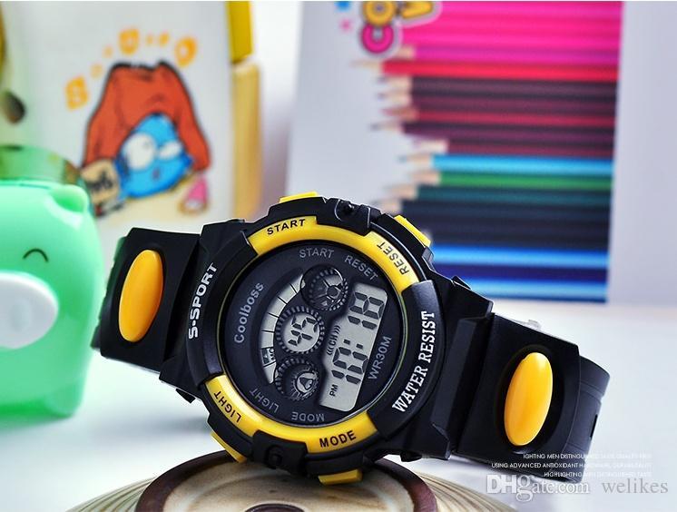 Elektronische Wecker der Kinderkinder leuchtender Weckerkalenderzeit 5 Farben vorhandenes wasserdichtes Sportuhren das beste Geschenk der Kinder