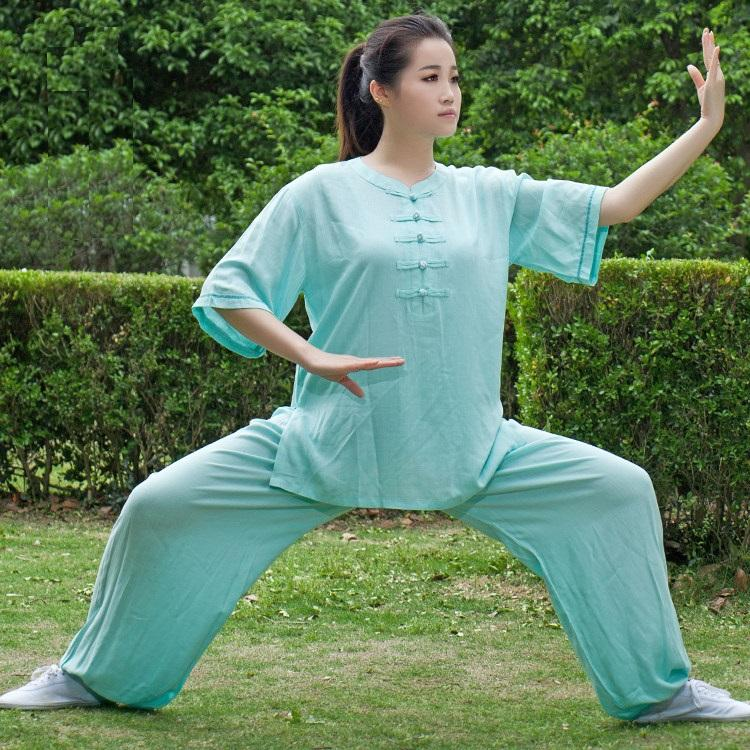 Tai chi clothing female linen spring and summer short sleeve leotard quinquagenarian shadowboxed performance wear