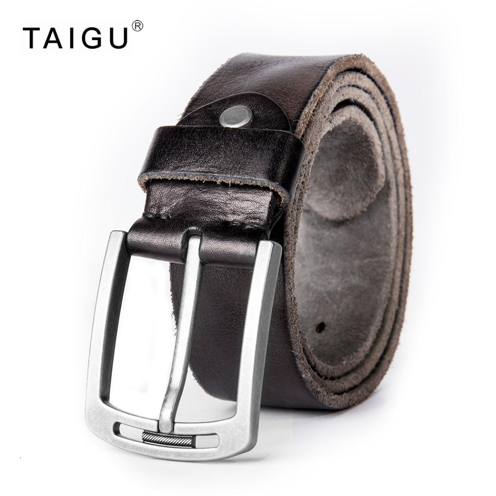 Wholesale- TAIGU Luxury Belt Men 100% Italy Cow Leather Belt For Men 105cm~125cm Length Metal Pin Buckle Free Shipping