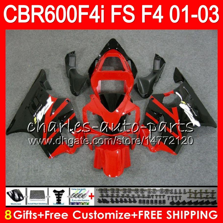 8Gifts For HONDA CBR 600 F4i 01-03 CBR600FS FS 28HM17 CBR600 F4i 2001 2002 2003 CBR 600F4i CBR600F4i 01 02 03 Fairing Hot Red black