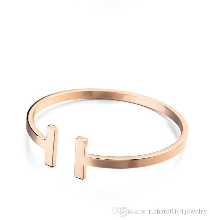 Fashion Jewelery Rose Gold Plated Adjustable Pulsera Metal Cuff Double T Shaped Bangle Bracelets Open Cross Charm Bracelet For Women Or Men
