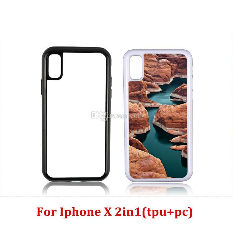2D 2in1 TPU + cassa del telefono della stampa di calore di sublimazione del PC con i piatti di alluminio del metallo Iphone X / 5 / 5C / 6/6 + / 7/7 + / 8/8 +