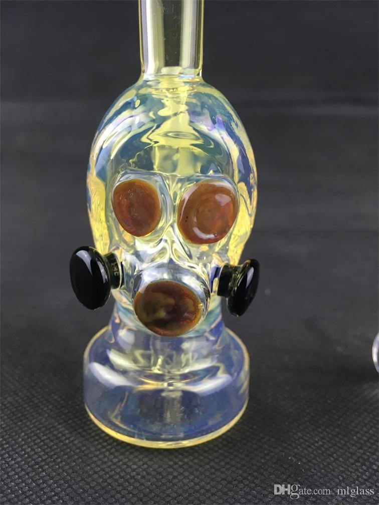 Mini Smoke Pipe Glas Wasser Bong Gasmaske Glas Ölplattform Brenner Glasbecher Bunte Bongs Recycler Bubbler 10mm Quarz Banger