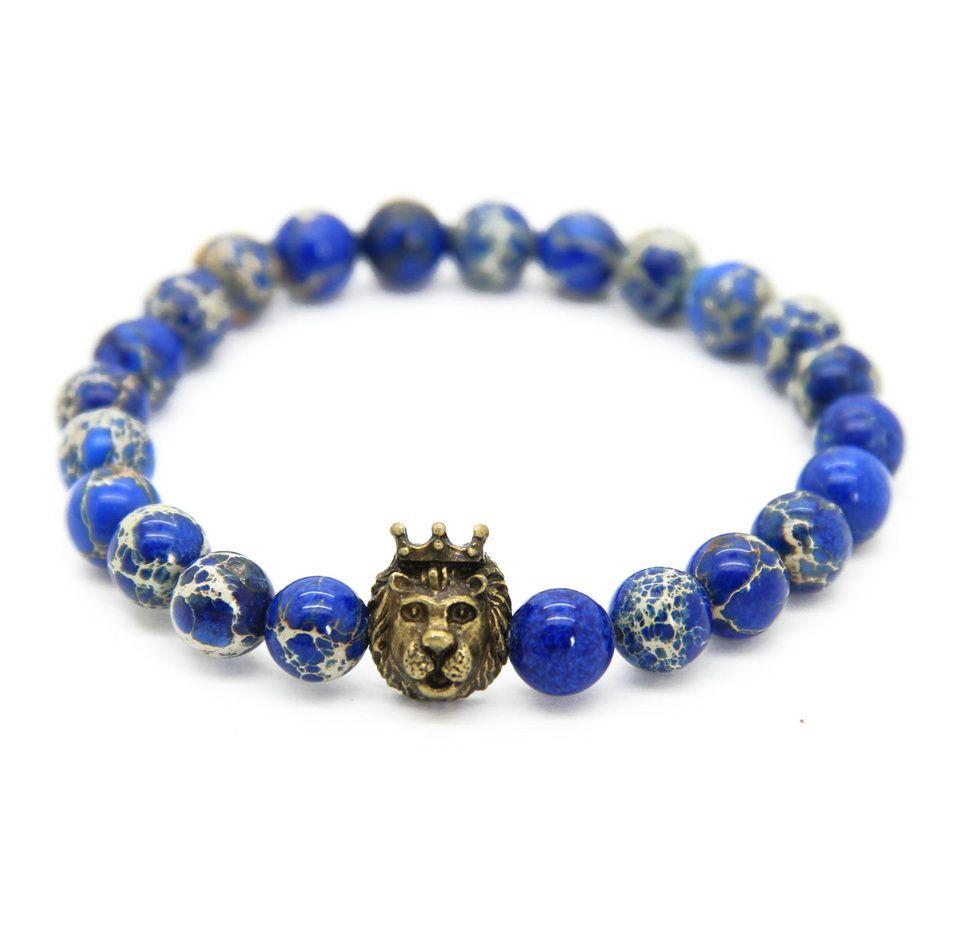 1 قطع تصميم جديد 8 ملليمتر الأزرق البحر الرواسب ستون الخرز مع مزيج لون الأسد رئيس بطل الأساور ، رجل مجوهرات ، هدية لطيفة