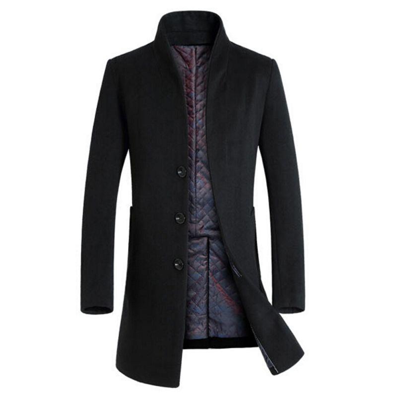 2017 Winter Wool Coat Men Long Sections Thick Woolen Coats Mens ...