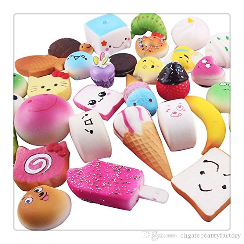 New Squishies Mini Squishy Phone Straps Random Foods Phone Charm Key Chain Strap Lovely Soft Bread Cake Ice Cream Squishies Fidget Toys