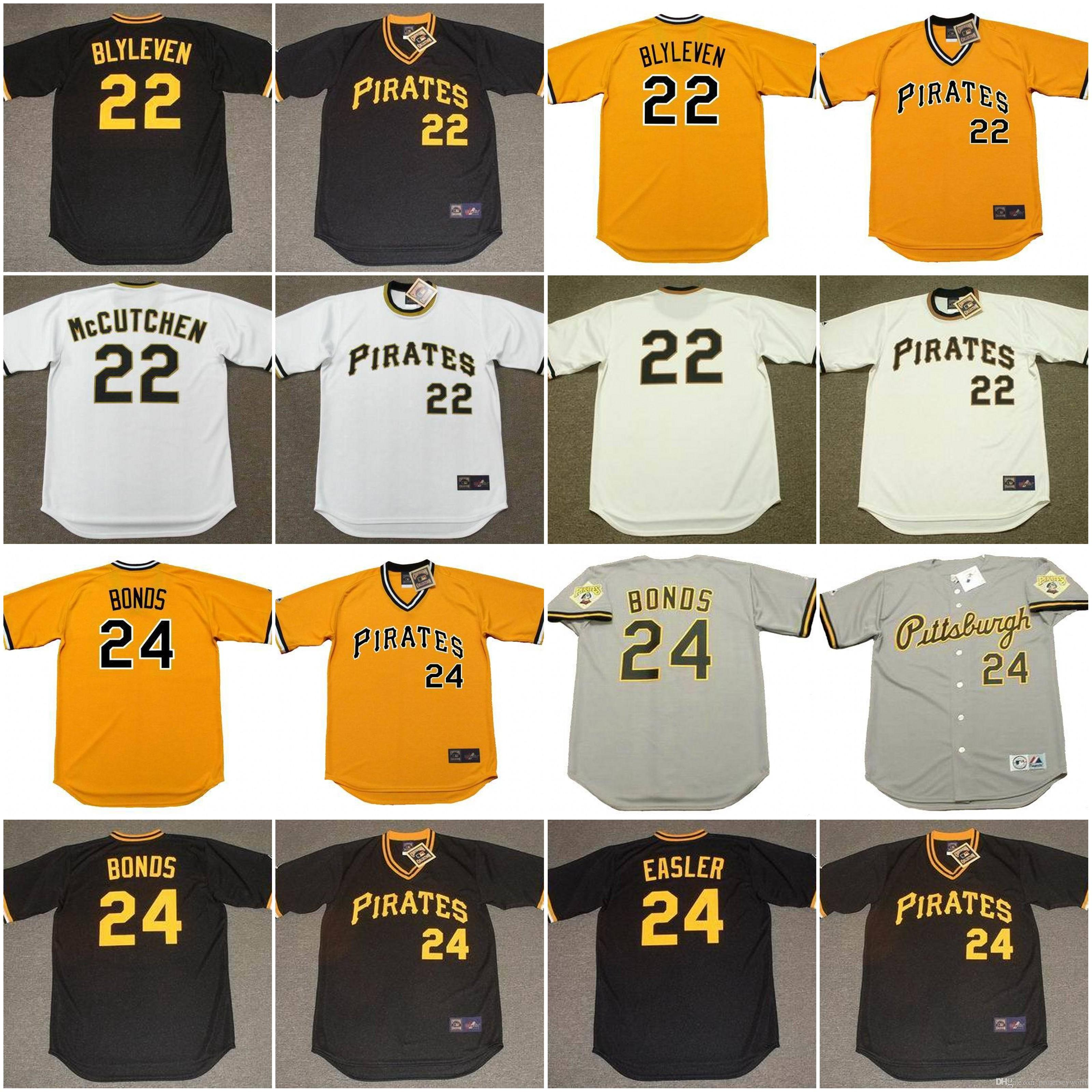 f88dbd5529d Mens Pittsburgh Pirates 22 ANDREW McCUTCHEN 1970s 22 BERT BLYLEVEN 24 BARRY  BONDS Mens Pittsburgh Pirates 24 Barry Bonds Grey Throwback Jersey .