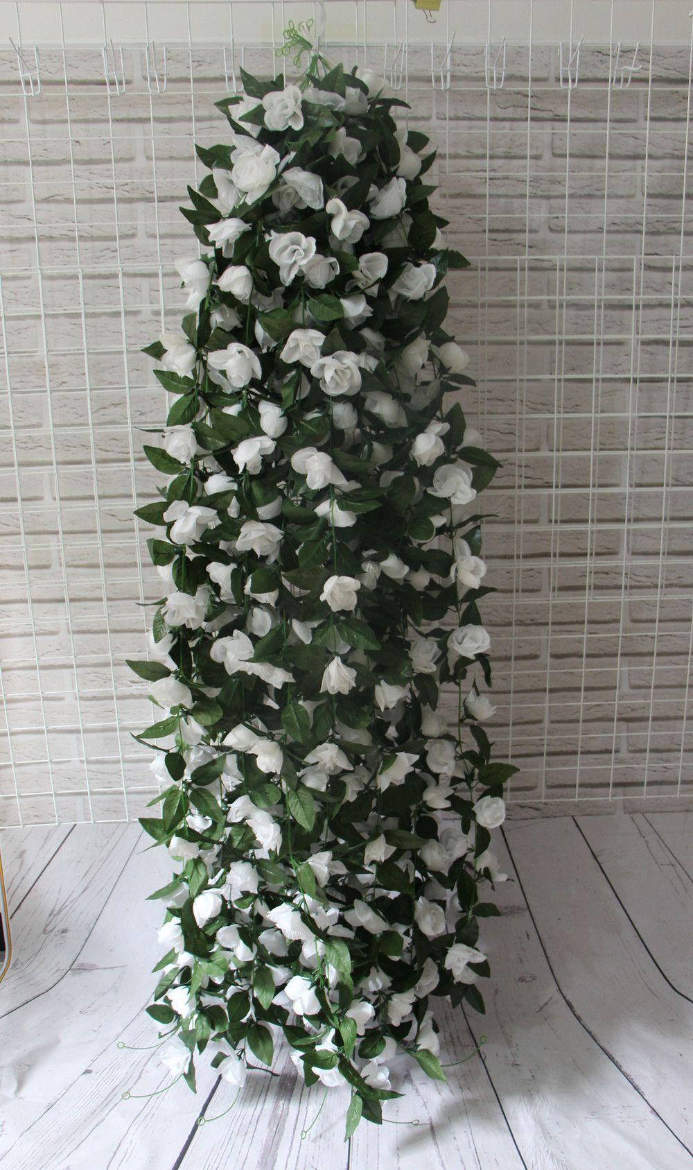 Artificial Rose Garland Silk Flower Vine Ivy Home Wedding Garden Decoration red white green leaves 180cm