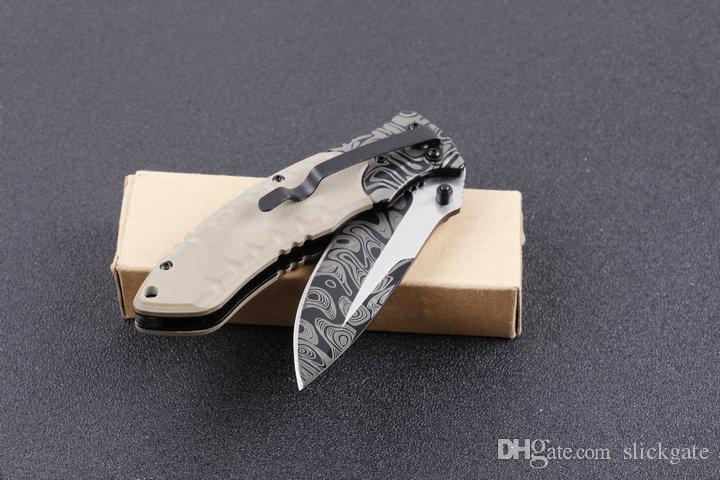 Populaire Folder Pliant F91 EDC Pliant G10 Poignée Motif Damas Bord Droit Lame 4.53 Pouces Fermé Couteau Survie Cadeau B128L