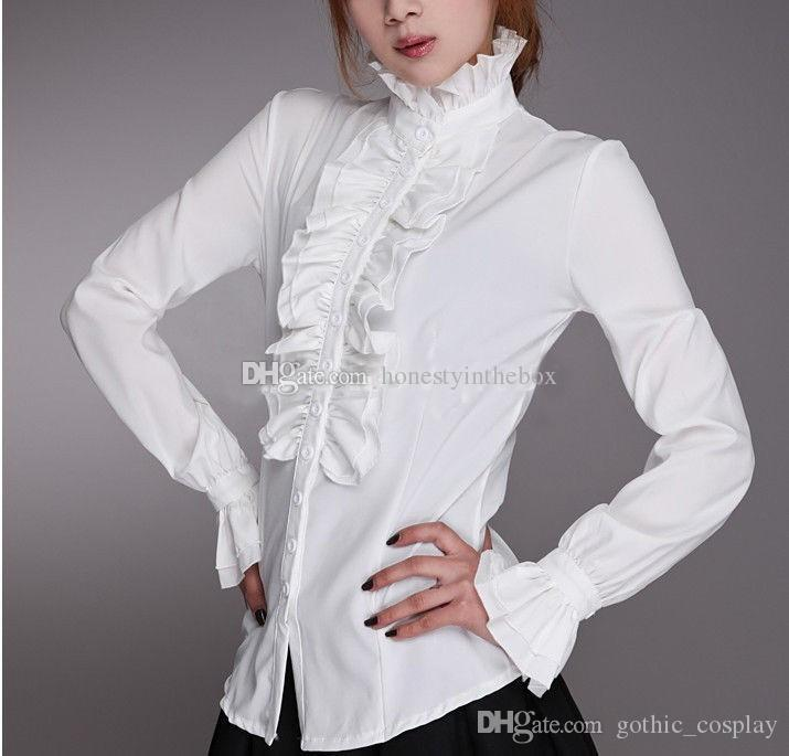 b997f4cd76aeec 2019 Customized 2017 New Cotton High Neck Frilly Womens Vintage Victorian Ruffle  Top Shirt Blouse,Fashion Blouses For Women From Gothic_cosplay, ...