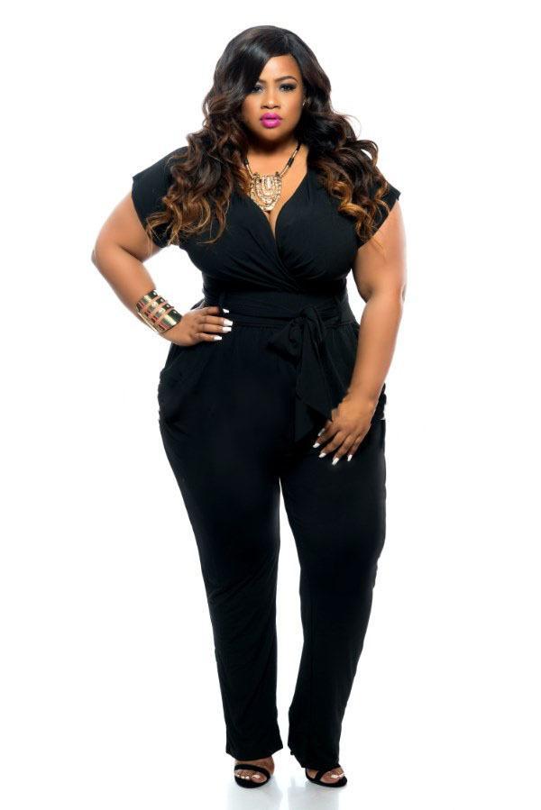 21bb4488821 Wholesale- Black blue Super Sexy Deep V Neck Jumpsuits Plus Size Tie Waist  Jumpsuit Narrow Feet Jumpsuits for Big Size Women Club Wear Jumpsuit Women  ...