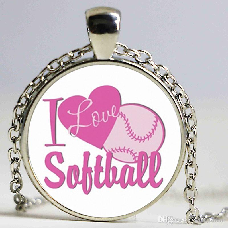 Wholesale new i love softball necklace sports pendants round wholesale new i love softball necklace sports pendants round jewelry glass photo cabochon necklaces handmade accessory friendship necklaces lariat necklace mozeypictures Gallery