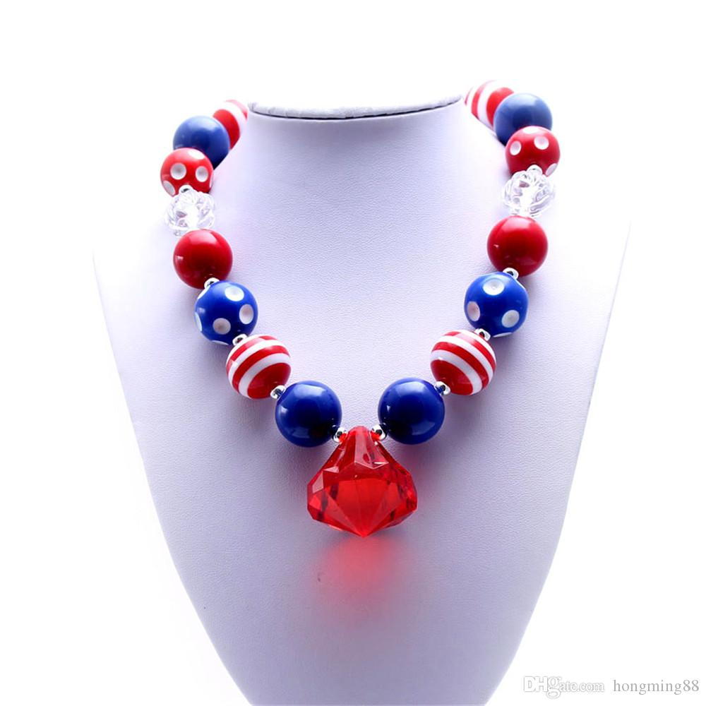 MHS.SUN Newest Design 4th July Necklace Birthday Party Gift For Toddlers Girls Beaded Bubblegum Baby Kids Chunky Necklace Jewelry