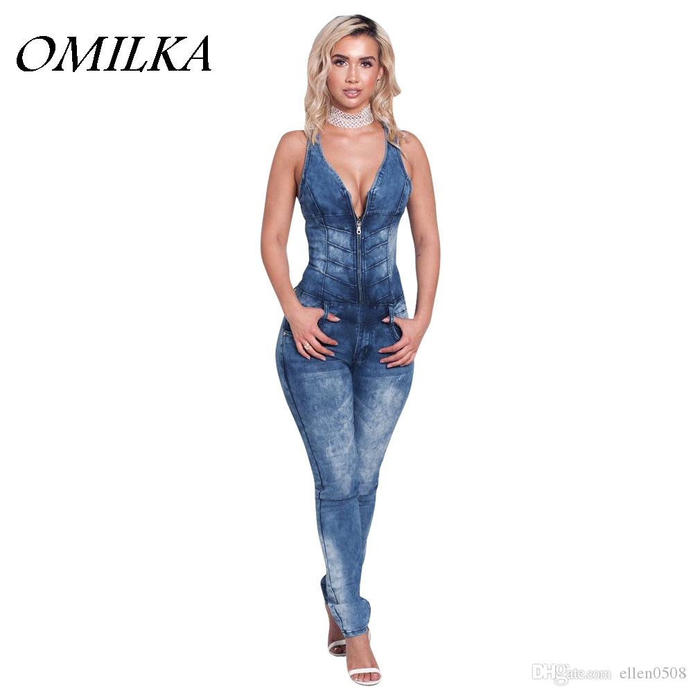 598e7cdf50c5 2019 OMILKA 2017 Summer Women Sleeveless V Neck Backless Bodycon Denim  Jeans Rompers And Jumpsuits Sexy Blue Party Club Full Overalls From  Ellen0508