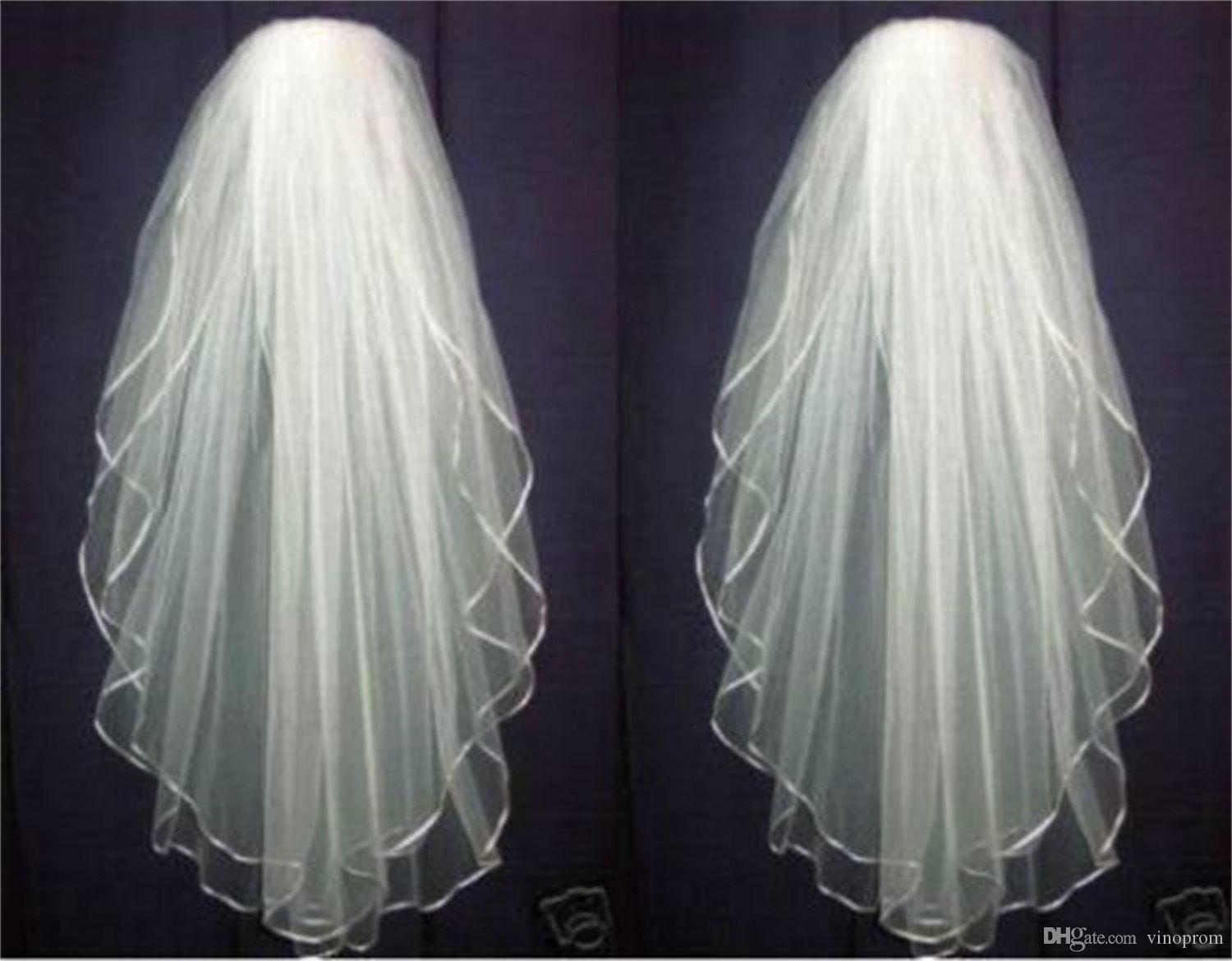Top Vendita New White o Ivory Wedding Bridal Veil Gomito Accessori Lunghezza Bordo in raso con pettine