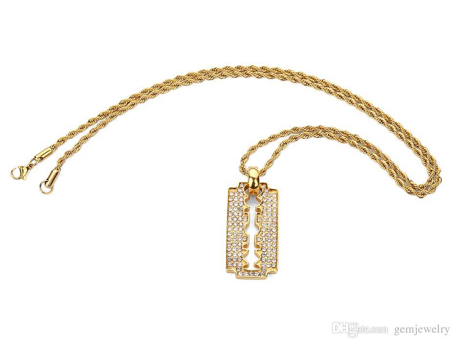 Edelstahl-Blatt-Art- und Weisepersonifizierte Rasiermesser-Anhänger-Halskette einfacher Art voll von Rhinestone-Art- und Weisehip-Schmucksachen