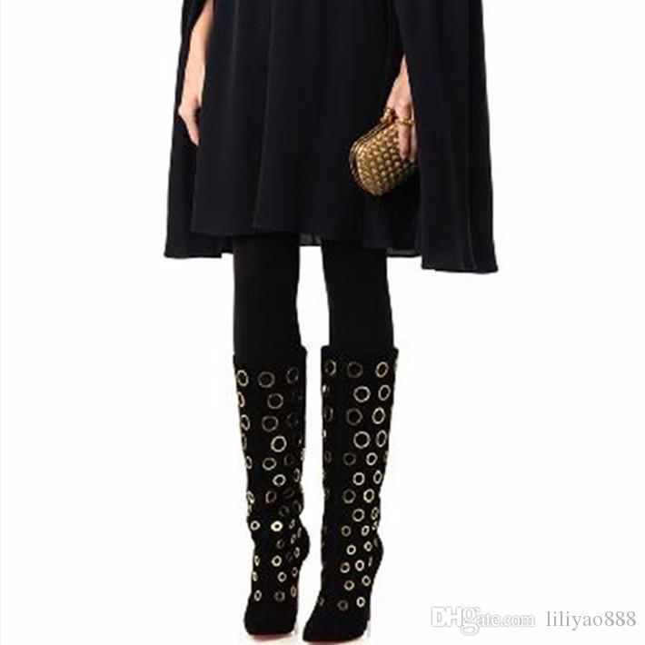 Sexy Winter Women Knee High Boots Cut-outs Polka Dot Boots Pointed Toe High Heel Women Suede Shoes Fashion Gold Holes Boots