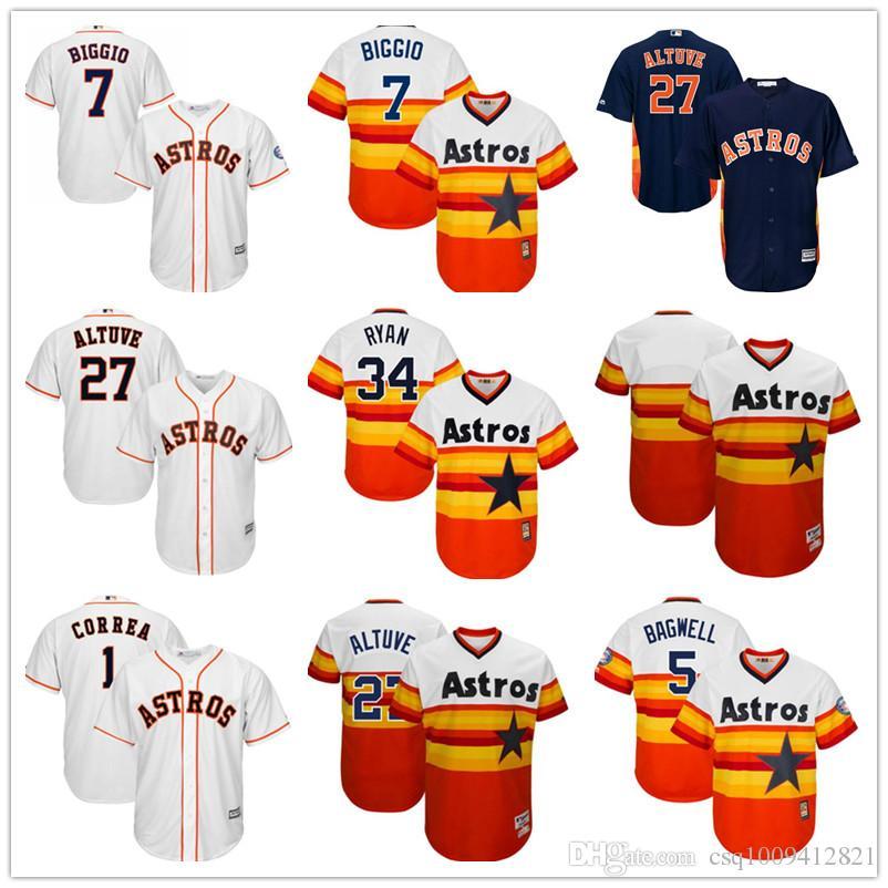 huge discount c9790 41eaf Throwback Baseball Jerseys Houston Astros 7 Craig Biggio 27 Jose Altuve 34  Nolan Ryan Jersey Cheap Custom Any Mens Women Youth Jerseys