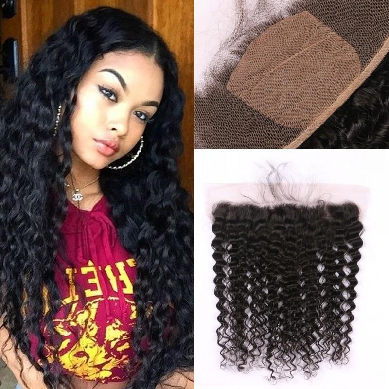 Free Part Curly Silk Base Lace Frontal With Baby Hair Brazilian