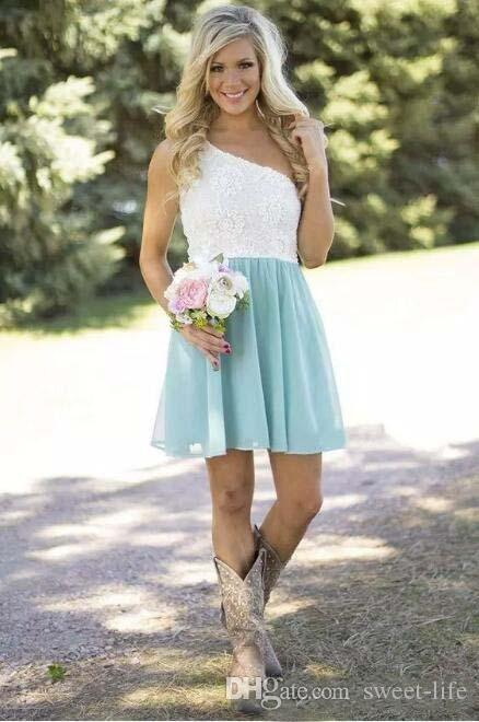 Hot Sale 2017 Country Bridesmaid Dresses Short One Shoulder White Lace Mint Green Chiffon Guest Wedding Party Gowns Casual Custom Made