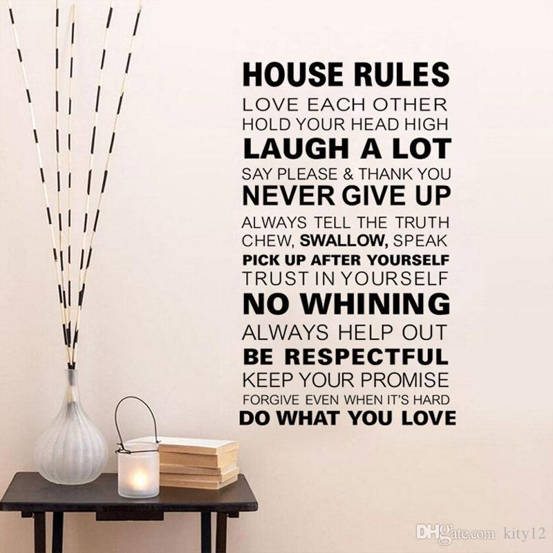 new family house rules wall stickers home decor love art quote vinyl
