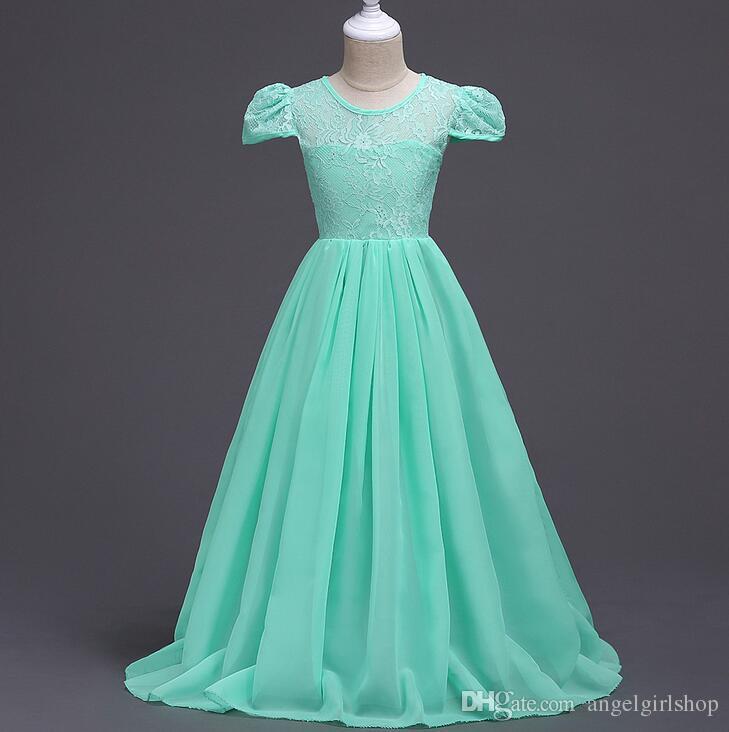 Girls Floor Length Lace Dress 2017 Summer Kids Party Wedding Dress ...