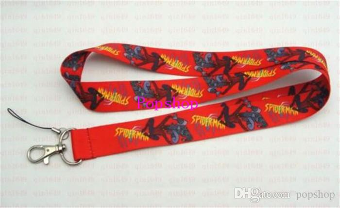 Wholesale Classic Hero Red Spiderman Mobile Phone Lanyards Neck Straps Charms ID Holder,Key Chain