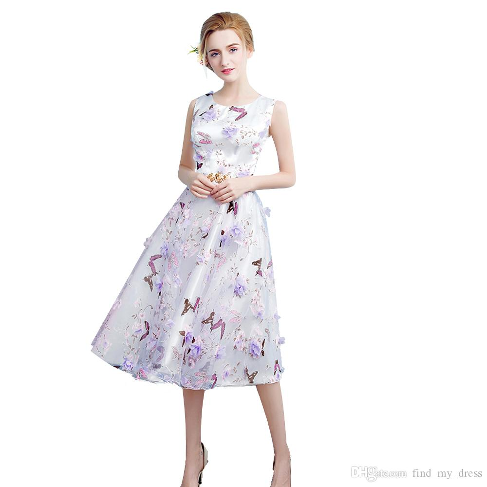 1d6830523825 Metal Sash Organza Casual Beach Party Dresses New Fashion A Line Knee Length  Custom Made Floral Printed 2017 Homecoming Gowns Best Sale Semi Formal  Dresses ...